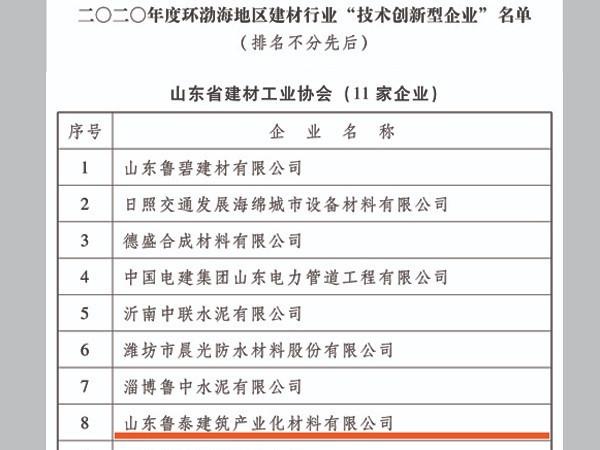 """鲁泰建材获评2020年度环渤海地区建材行业""""诚信企业""""等荣誉称号"""
